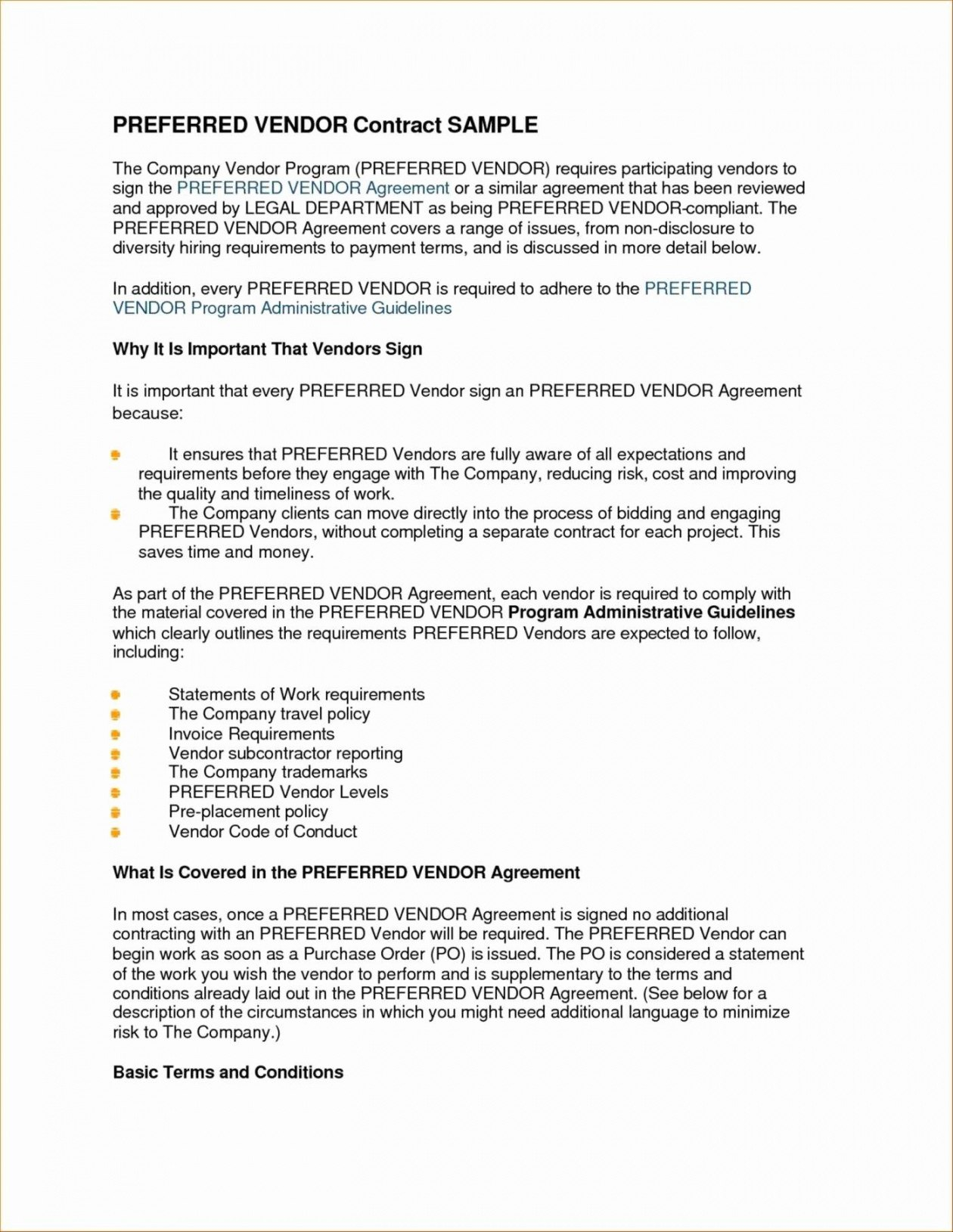 Sample Vendor Contract Wwwtopsimages Preferred Supplier Agreement Pertaining To Preferred Supplier Agreement Template