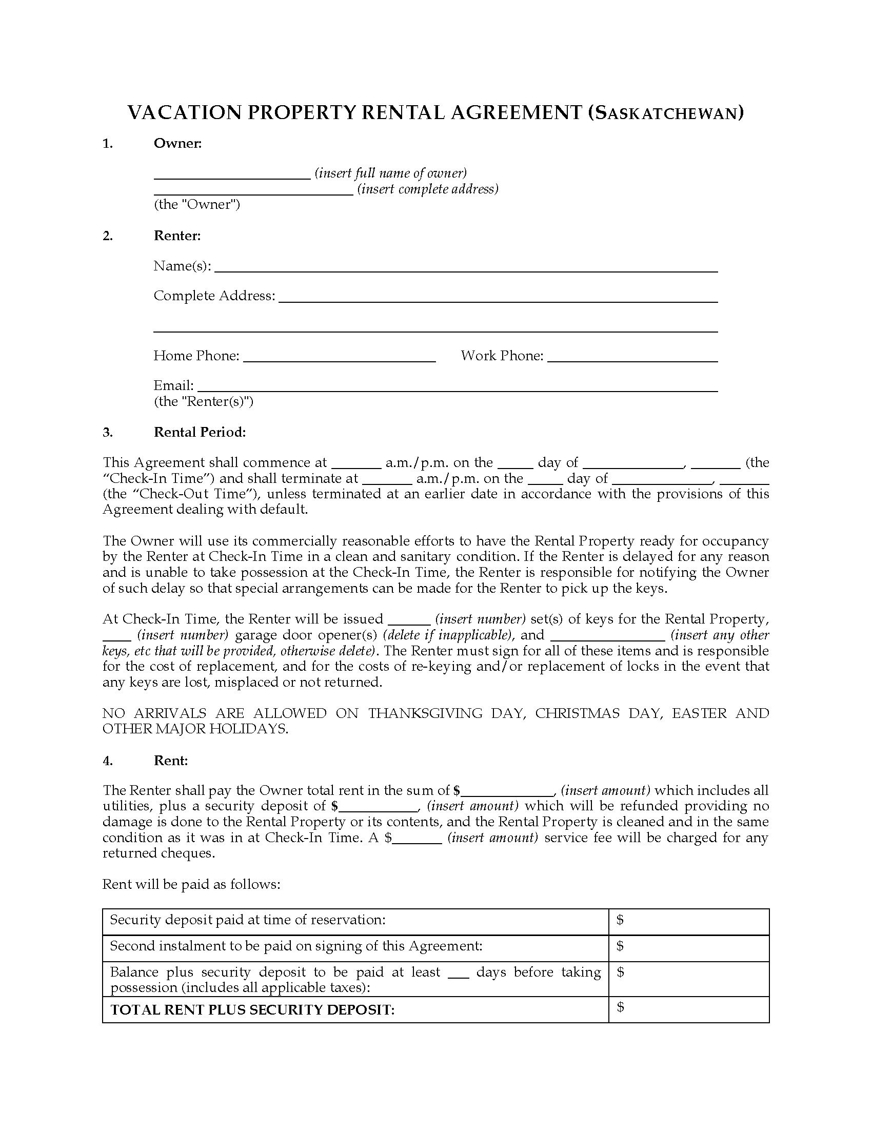 Saskatchewan Vacation Property Rental Agreement  Legal Forms And Regarding Vacation Home Rental Agreement Template
