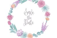 Save The Date Card Template Decorated With Round Vector Image within Save The Date Cards Templates