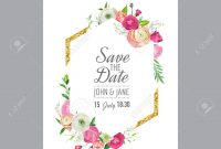 Save The Date Card Template With Gold Glitter Frame And Pink in Save The Date Cards Templates