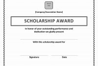 Scholarship Award Certificate with Sports Award Certificate Template Word