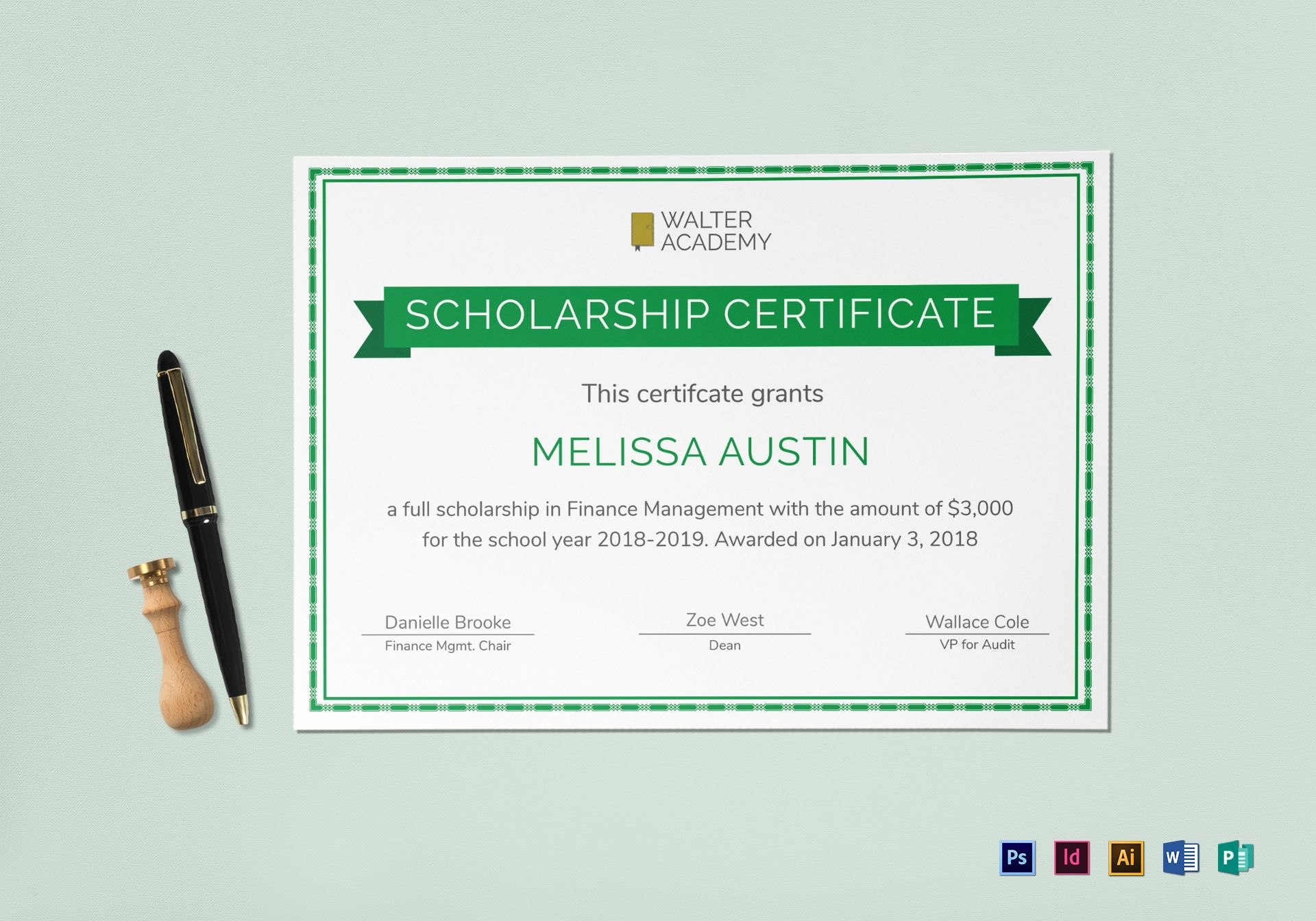Scholarship Certificate Design Template In Psd Word Publisher Regarding Scholarship Certificate Template