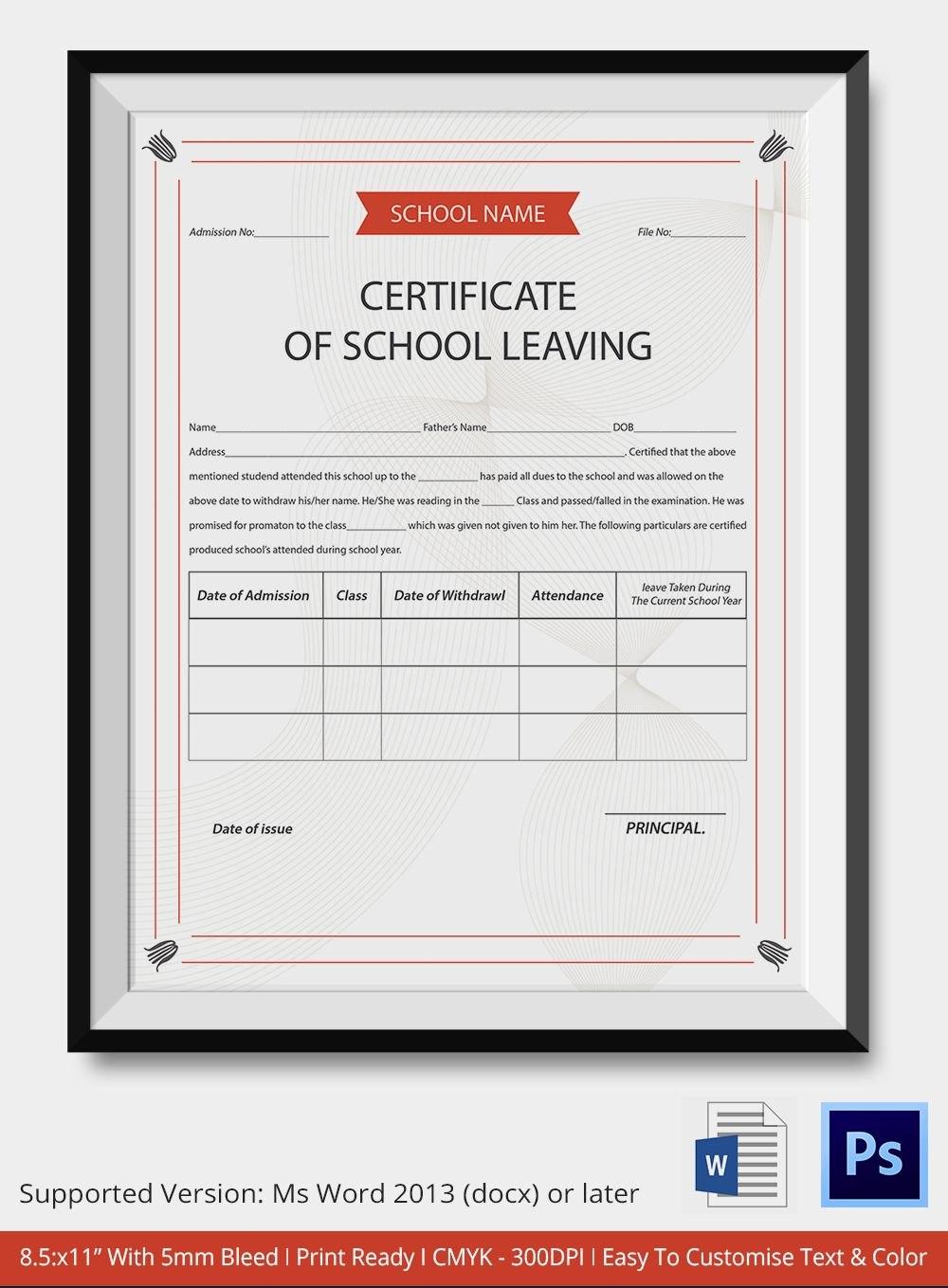 School Leaving Certificate Template  Certificate Templates  School Pertaining To Certificate Templates For School