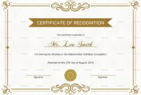 School Recognition Certificate Design Template In Psd Word with Template For Recognition Certificate