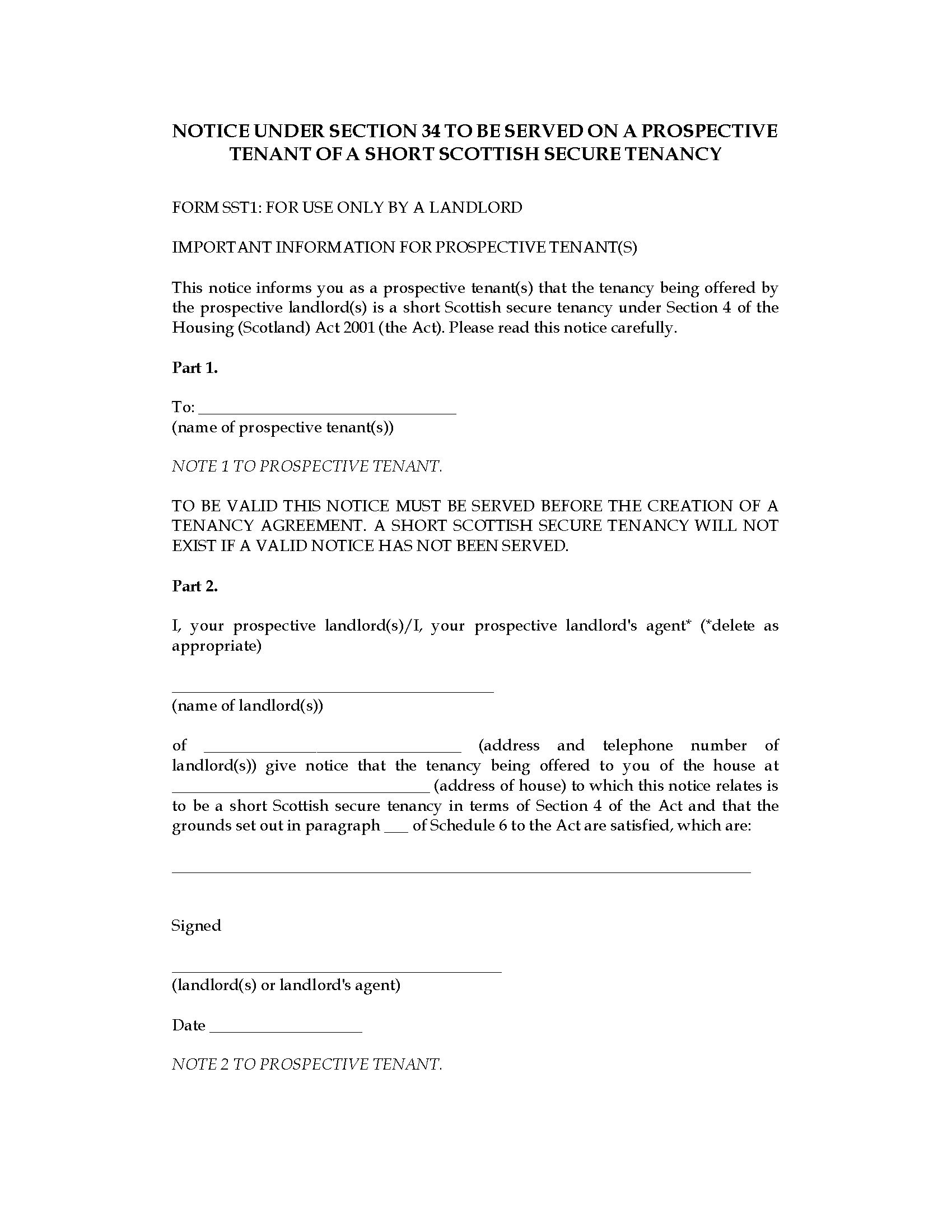 Scotland Notice To Prospective Tenant Of Short Scottish Secure Intended For Scottish Short Assured Tenancy Agreement Template
