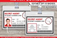 Secret Agent Badge Template  Spy Badge  Birthday Party with regard to Spy Id Card Template