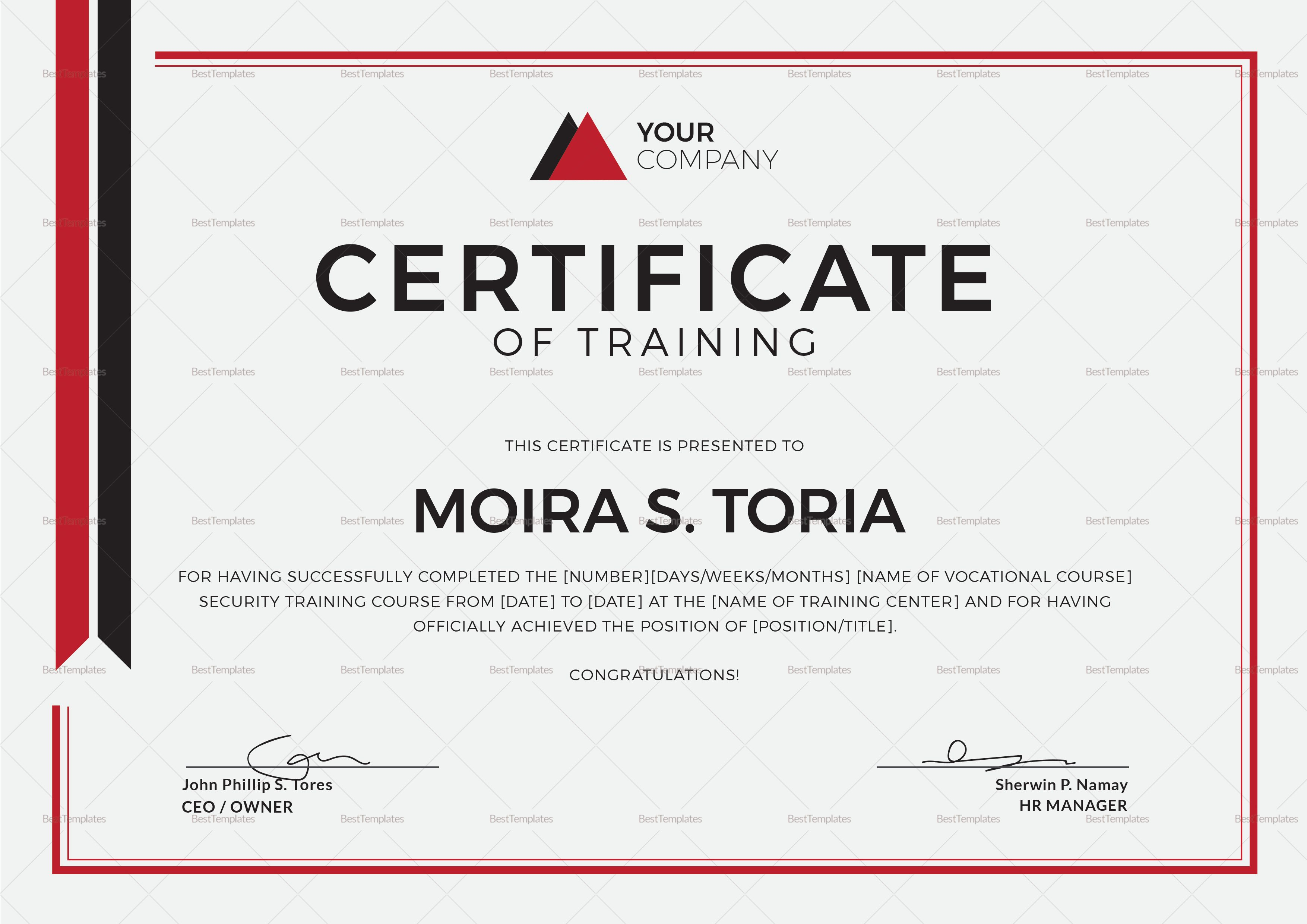 Security Training Certificate Design Template In Psd Word Inside Certificate Templates