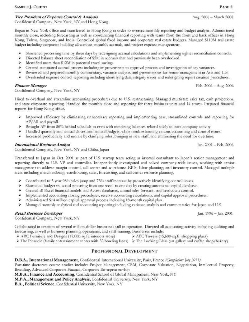 Senior Operating And Finance Executive Resume Inside Report To Senior Management Template