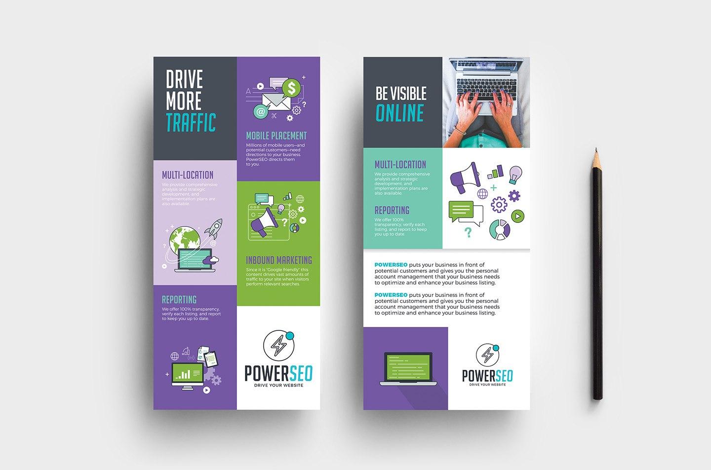 Seo Agency Dl Rack Card Template In Psd Ai  Vector  Brandpacks Inside Dl Card Template