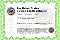 Service Dog Certificate Template Luxury Training Certificates intended for Service Dog Certificate Template