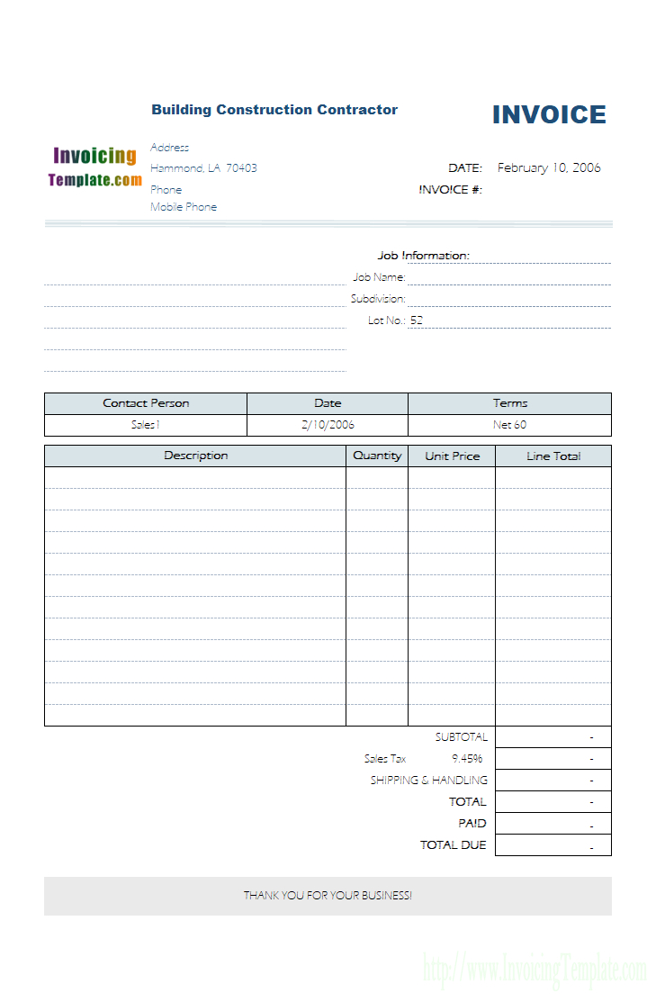 Service Invoice Template Regarding Invoice Template For Work Done