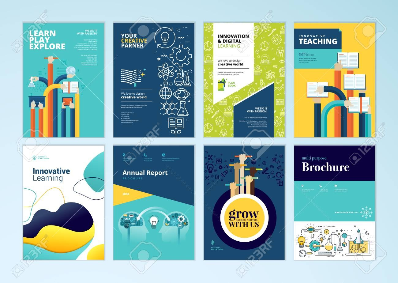 Set Of Brochure Design Templates On The Subject Of Education Throughout Brochure Design Templates For Education