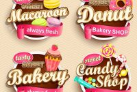 Set Of Food Labels Or Stickers  Macaroon Donut Bakery Candy with regard to Sweet Labels Template