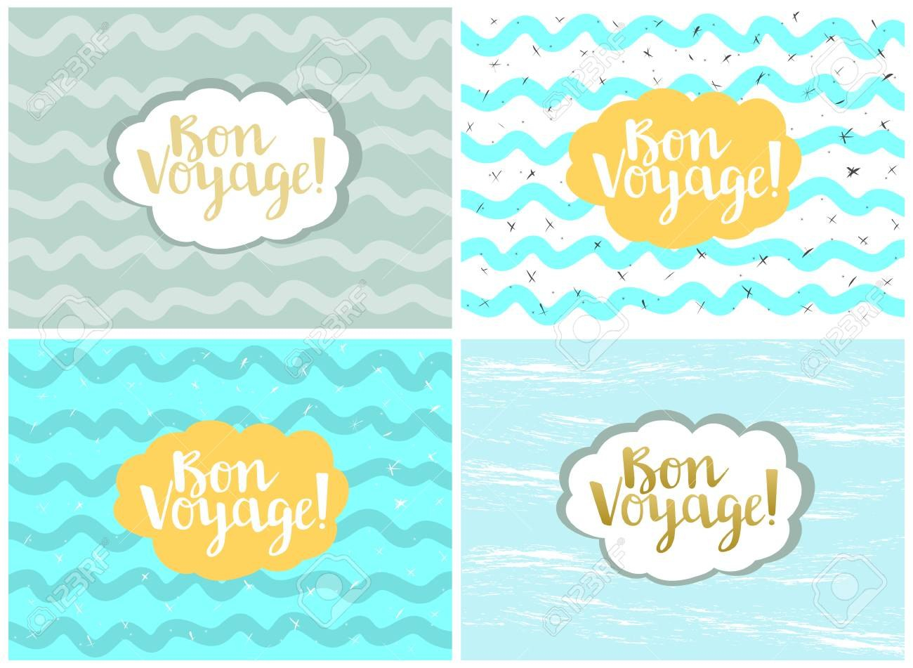 Set Of Four Cards Vector Templates Bon Voyage Royalty Free Pertaining To Bon Voyage Card Template
