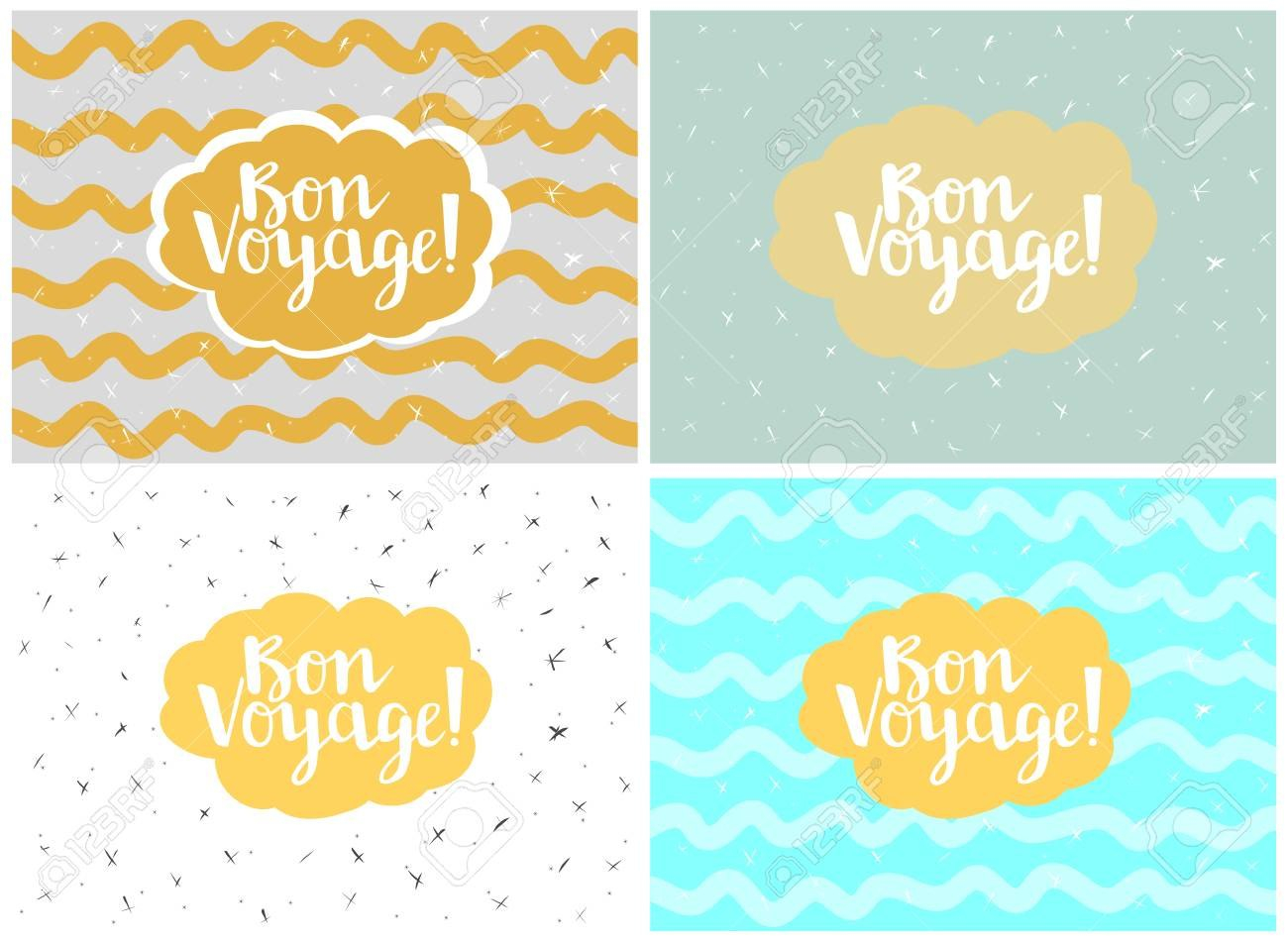 Set Of Four Cards Vector Templates Bon Voyage Royalty Free With Bon Voyage Card Template