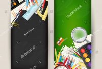 Set Two Back School Vertical Banners Stock Illustration in Classroom Banner Template