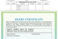 Share Certificate  Indiafilings inside Share Certificate Template Companies House