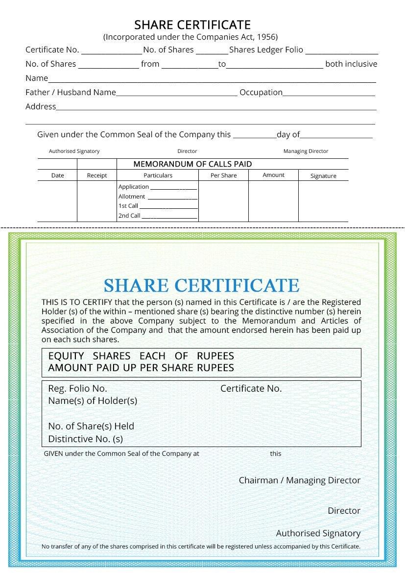 Share Certificate  Indiafilings With Corporate Secretary Certificate Template