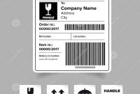 Shipping Label Barcode Template Stock Vector  Illustration Of in Package Address Label Template