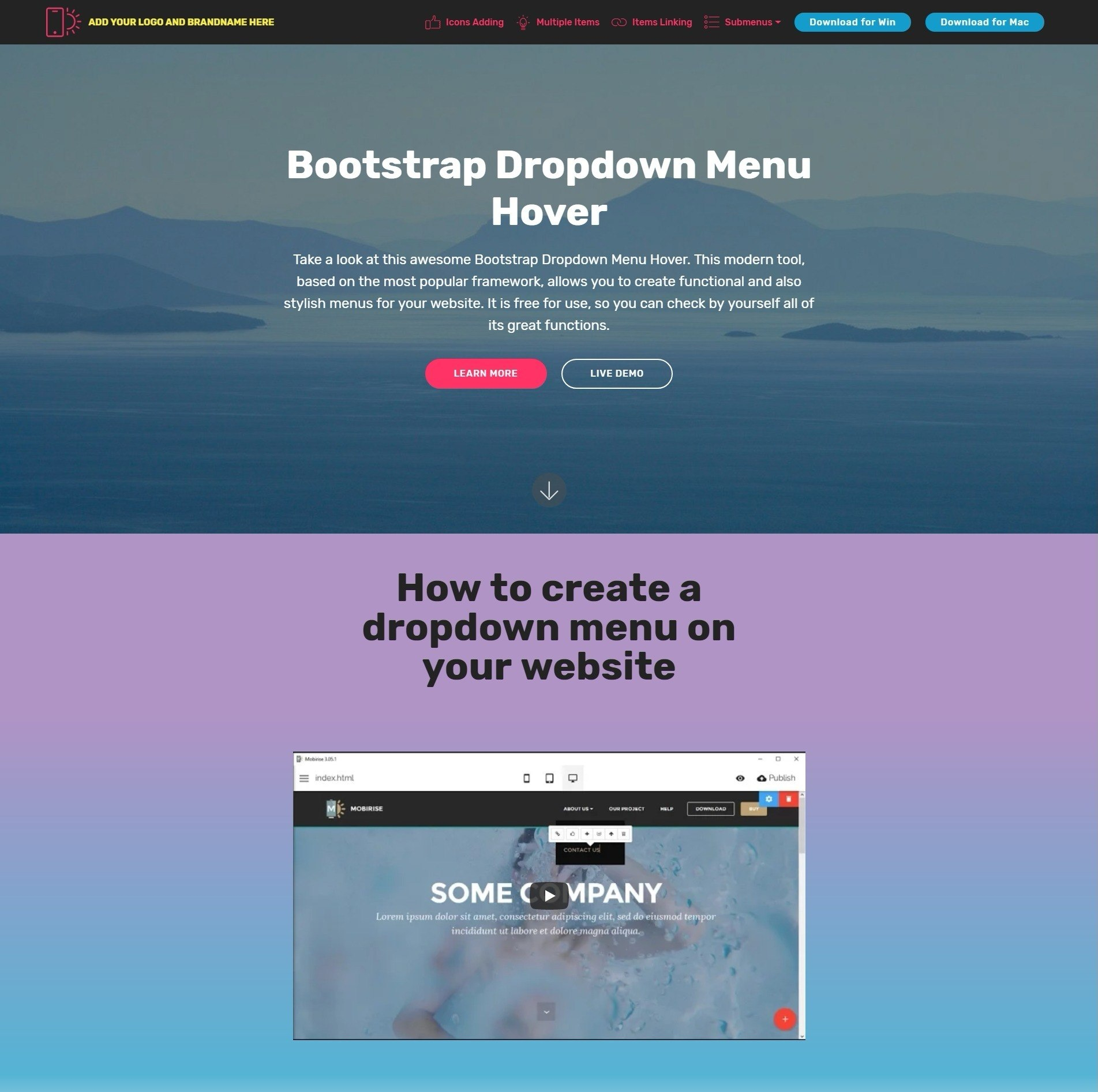 Shocking Free Bootstrap Modal Video Players And Dropdown Menu Examples With Template With Drop Down Menu