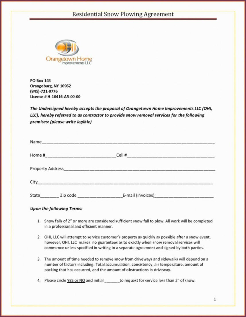 Shocking Snow Removal Contract Templates Template Ideas Sample Free Intended For Free Snow Plowing Contract Templates