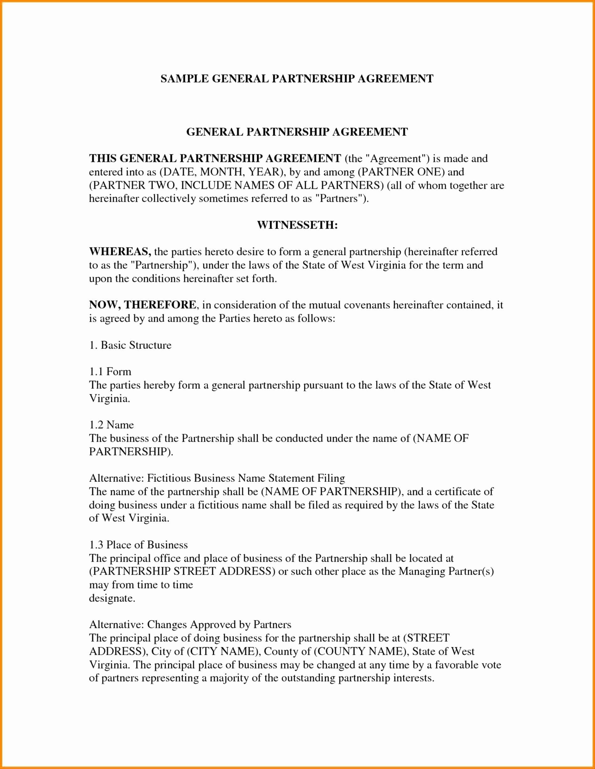 Simple Business Partnership Agreement Template  Caquetapositivo Pertaining To Free Simple General Partnership Agreement Template
