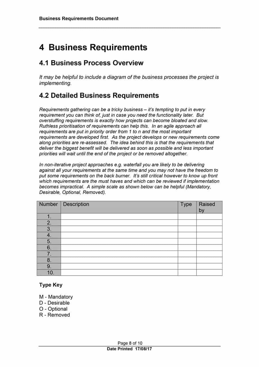 Simple Business Requirement Document Template   Simple Business Intended For Business Requirement Document Template Simple