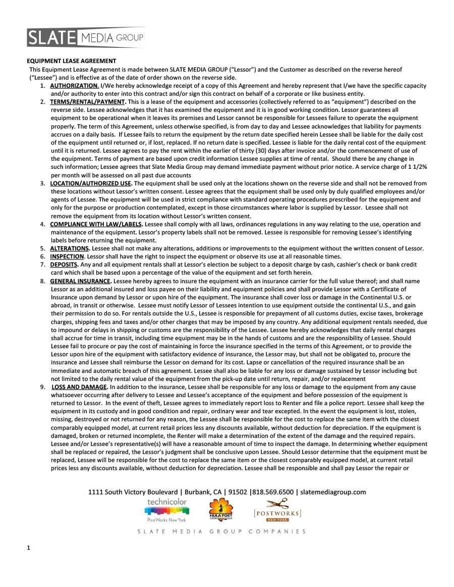 Simple Equipment Lease Agreement Templates ᐅ Template Lab Pertaining To Camera Equipment Rental Agreement Template