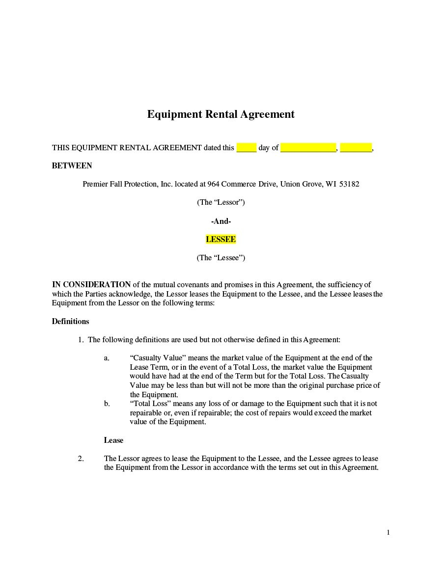 Simple Equipment Lease Agreement Templates ᐅ Template Lab Within Party Equipment Rental Agreement Template