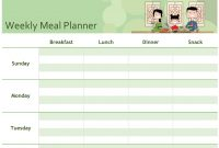 Simple Meal Planner for Weekly Dinner Menu Template