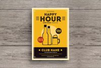 Simple Retro Happy Hour Beer Flyer Template Ai Psd  A with regard to Happy Hour Menu Template