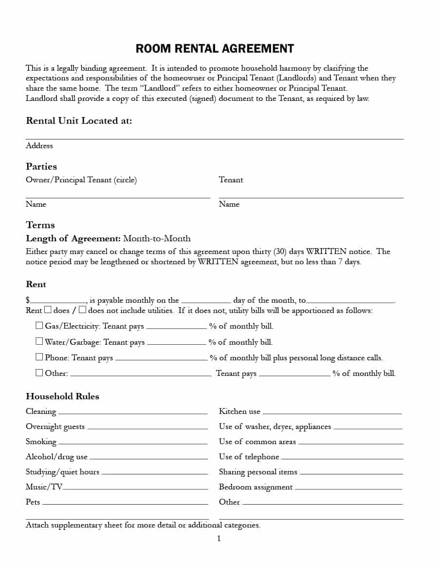 Simple Room Rental Agreement Templates  Template Archive For House And Flat Share Agreement Contract Template