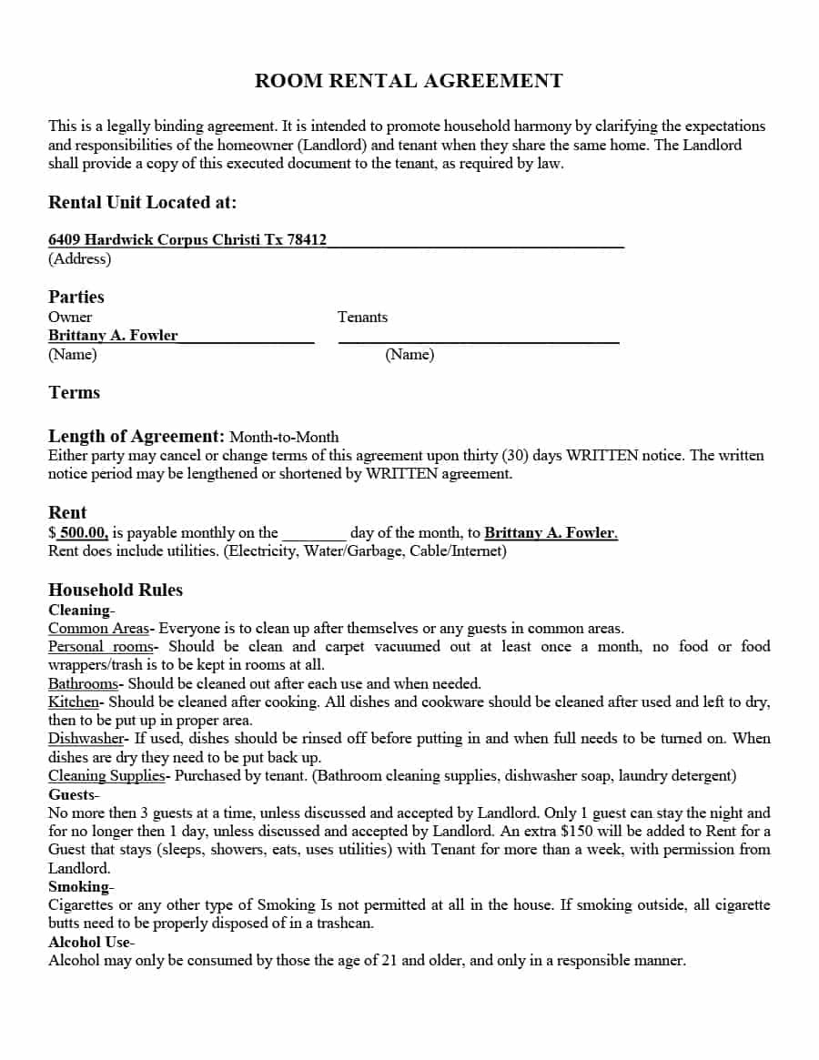 Simple Room Rental Agreement Templates  Template Archive Inside Termination Of Lodger Agreement Template