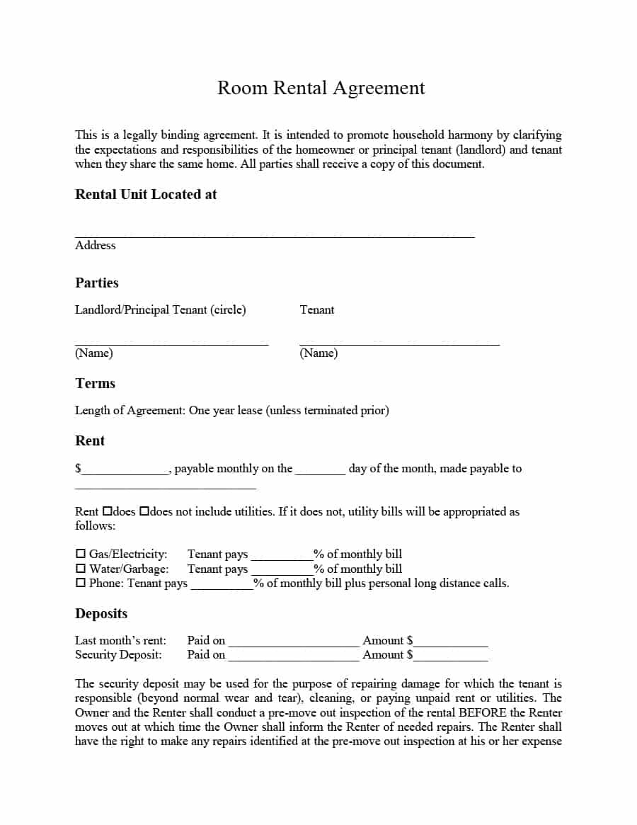 Simple Room Rental Agreement Templates  Template Archive Throughout Private Rental Agreement Template