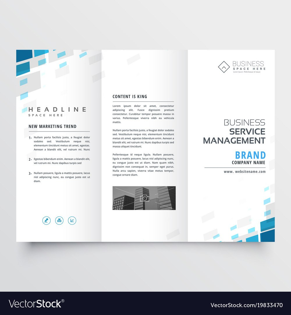 Simple Trifold Business Brochure Template Design Vector Image Inside One Page Brochure Template