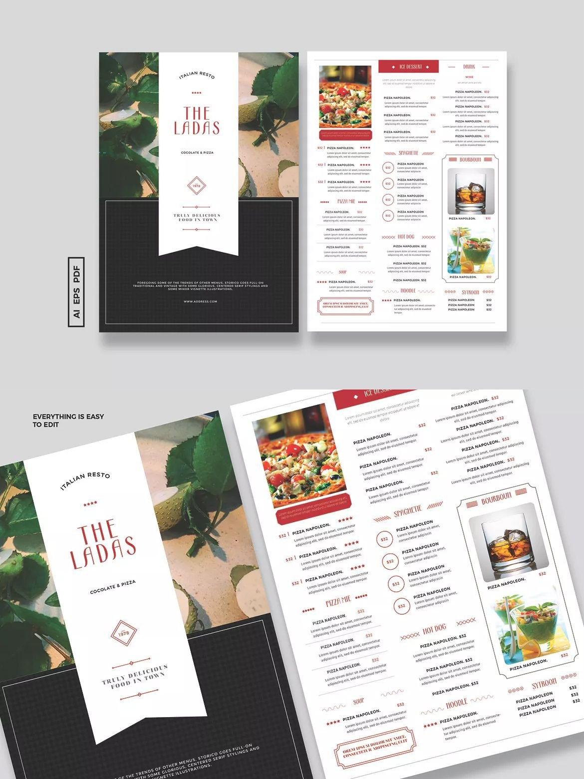Simple Vintage Menu Template Ai Eps  A Unlimiteddownloads With Adobe Illustrator Menu Template
