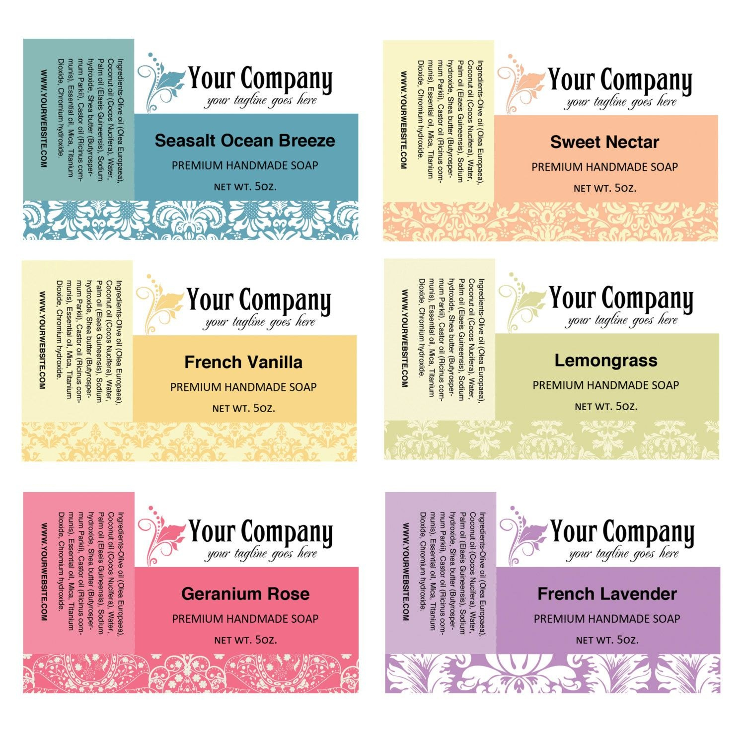 Soap Labels Soap Packaging Pre Designed Labels Label Template Pertaining To 4 X 2.5 Label Template