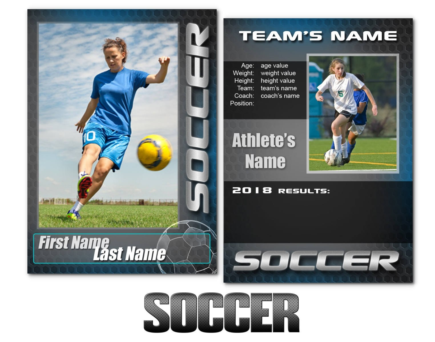 Soccer Graphite Cards Templates  Etsy For Soccer Trading Card Template