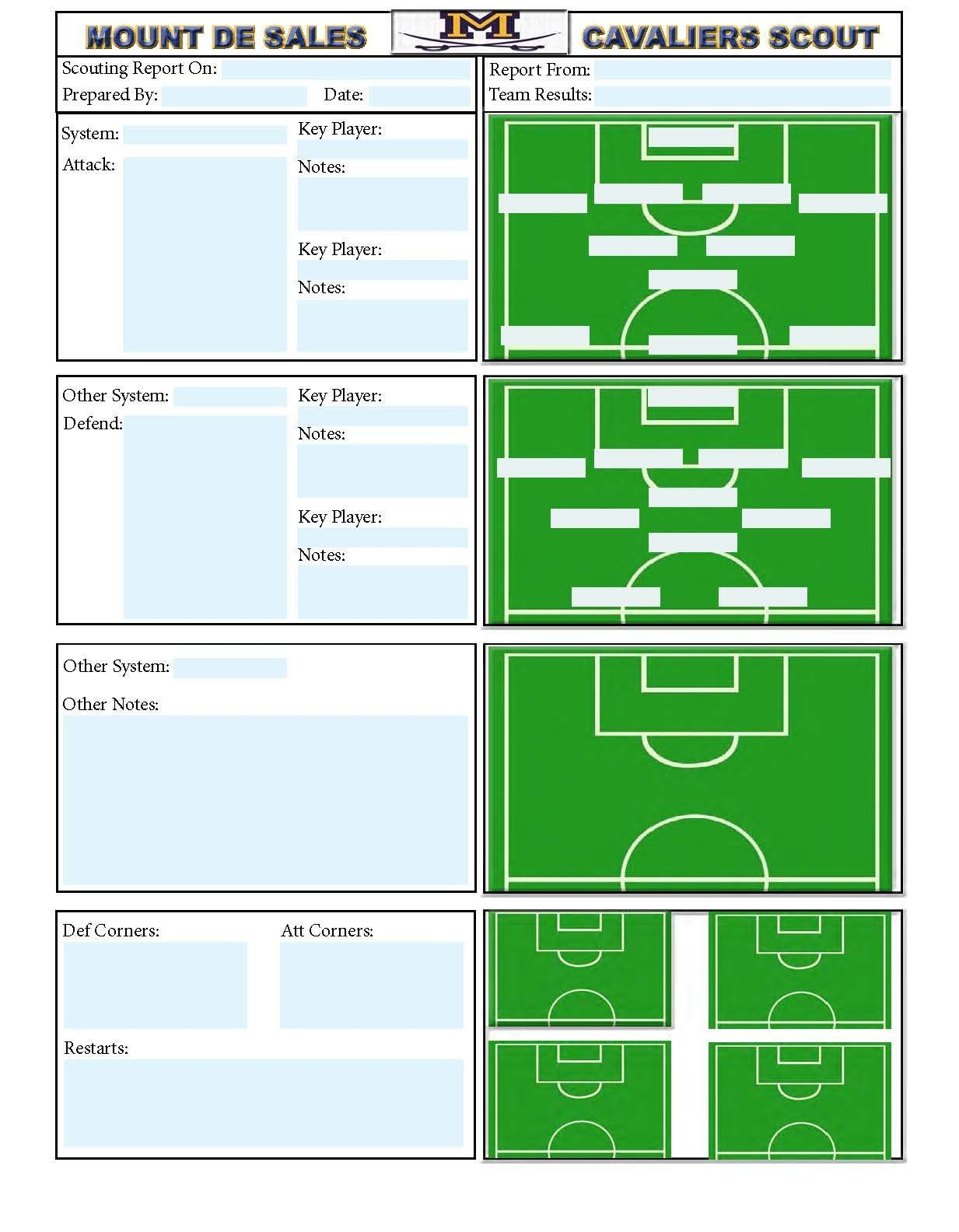 Soccer Scouting Template  Other Designs  Football Coaching Drills In Basketball Player Scouting Report Template