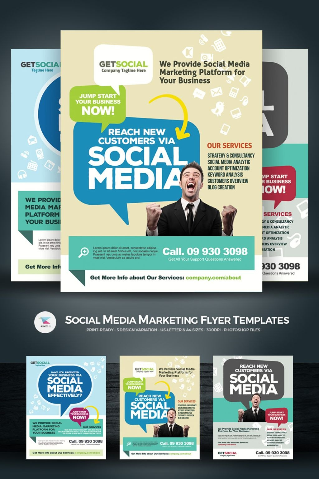 Social Media Marketing Flyers Psd Template With Regard To Social Media Brochure Template