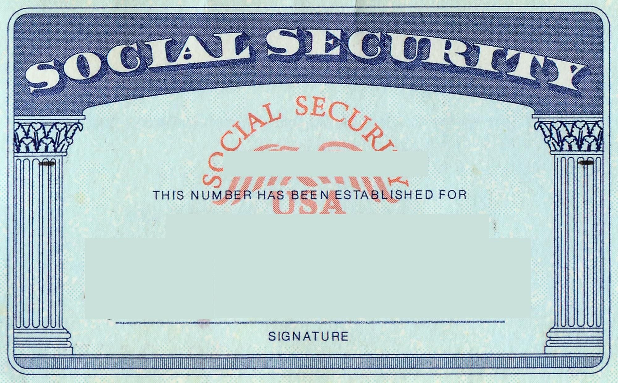 Social Security Card  Tax Refund Service  Estimate Tax Refund Usa Inside Blank Drivers License Template