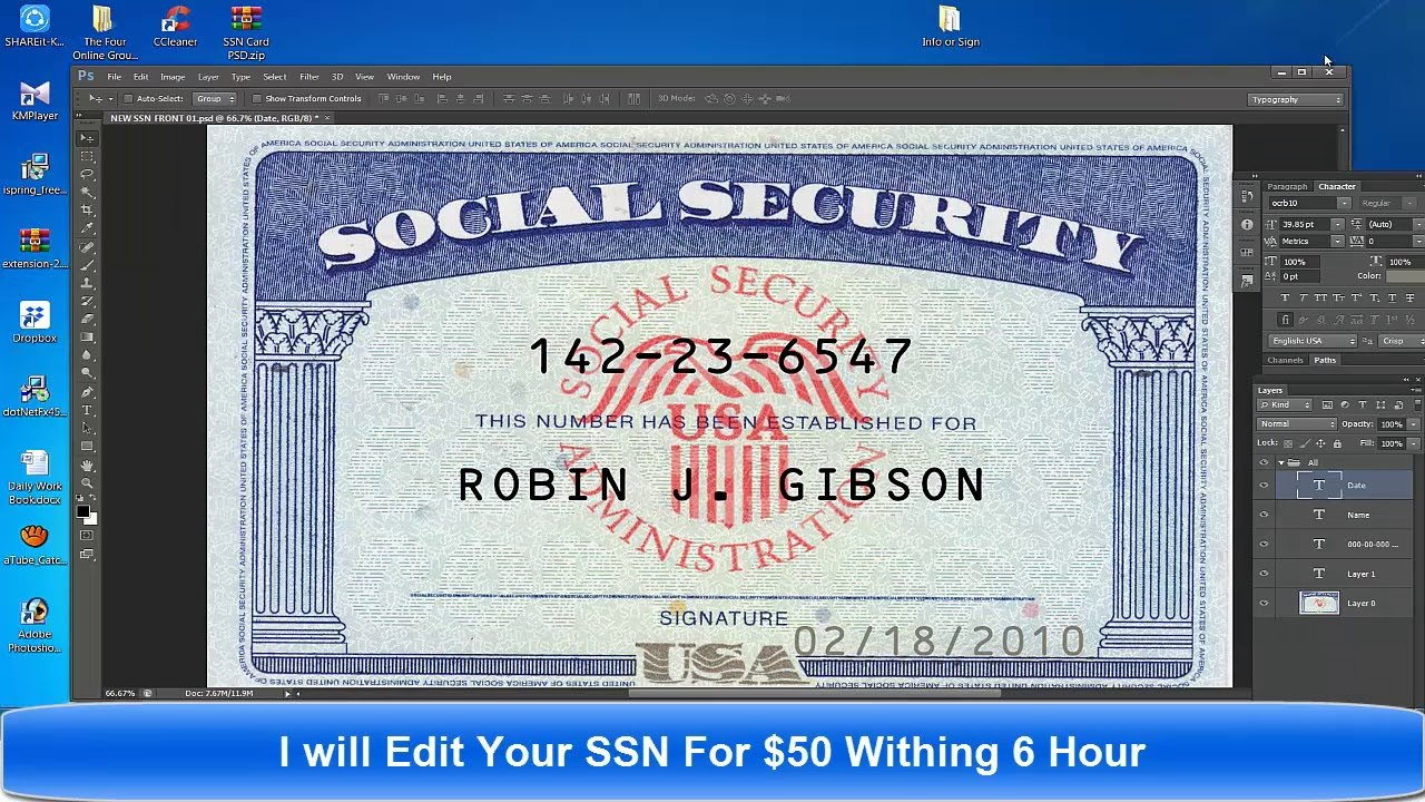 Social Security Card Template Psd  Only Pertaining To Fake Social Security Card Template Download