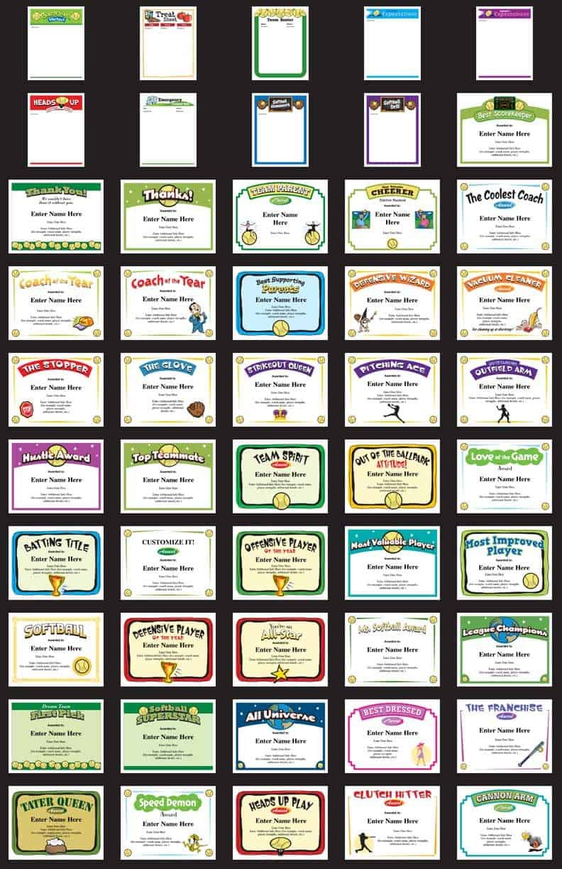 Softball Certificates Award Templates And Coaching Forms With Regard To Free Funny Award Certificate Templates For Word