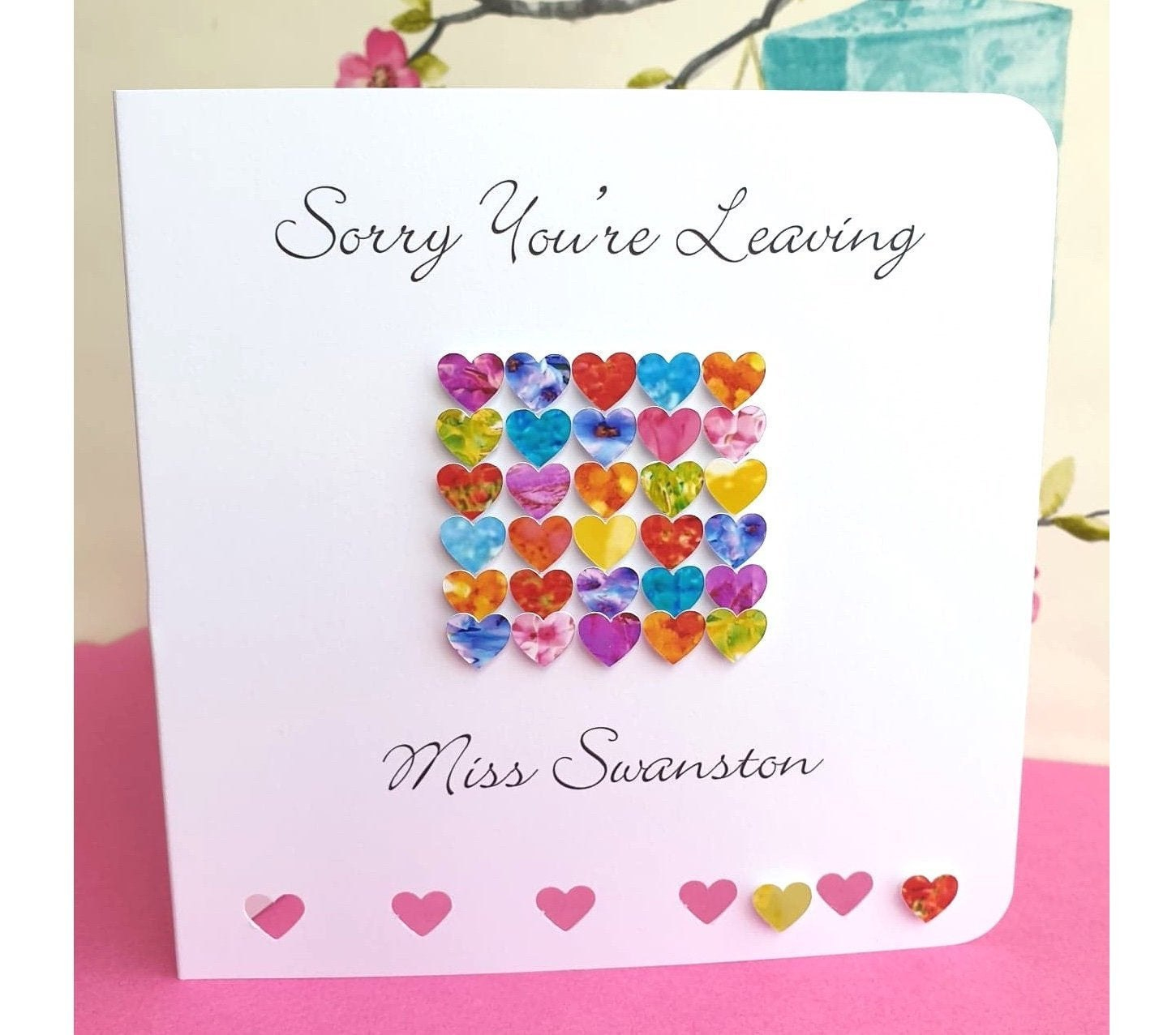 Sorry You're Leaving Card Handmade And Personalised  Etsy Intended For Sorry You Re Leaving Card Template
