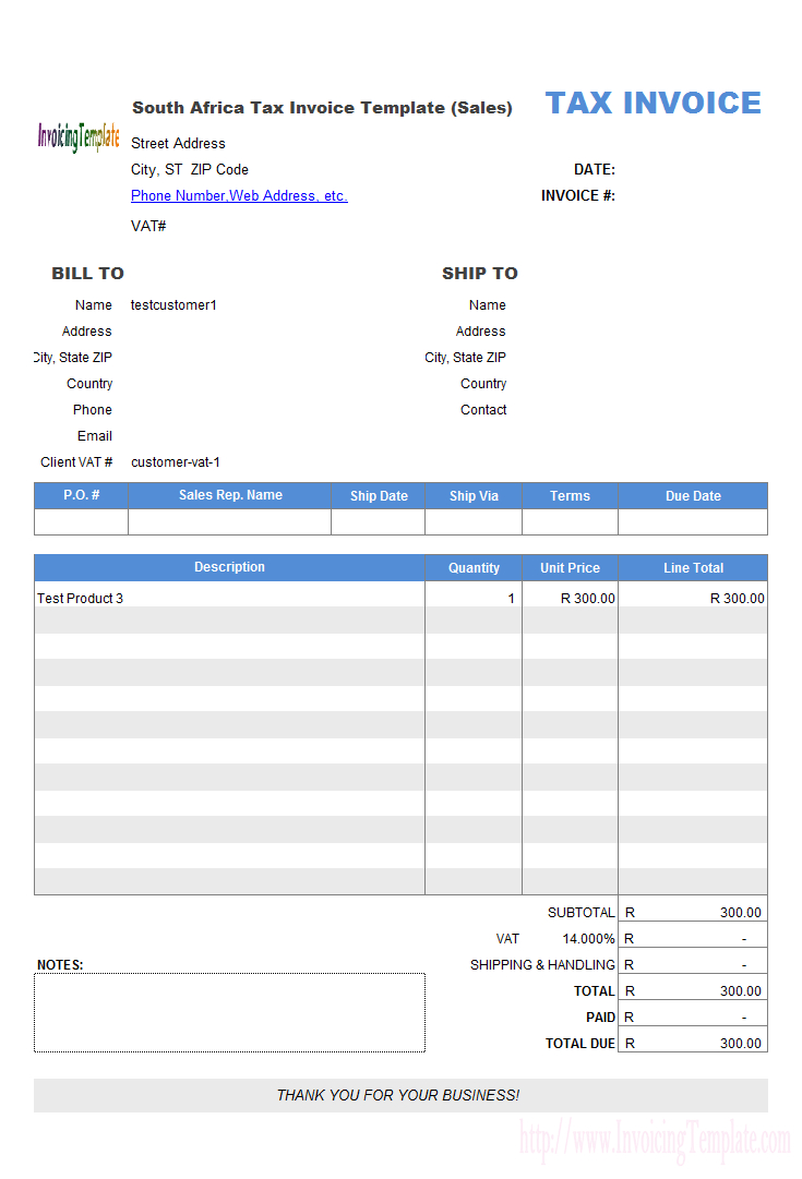 South Africa Tax Invoice Template Sales Inside South African Invoice Template