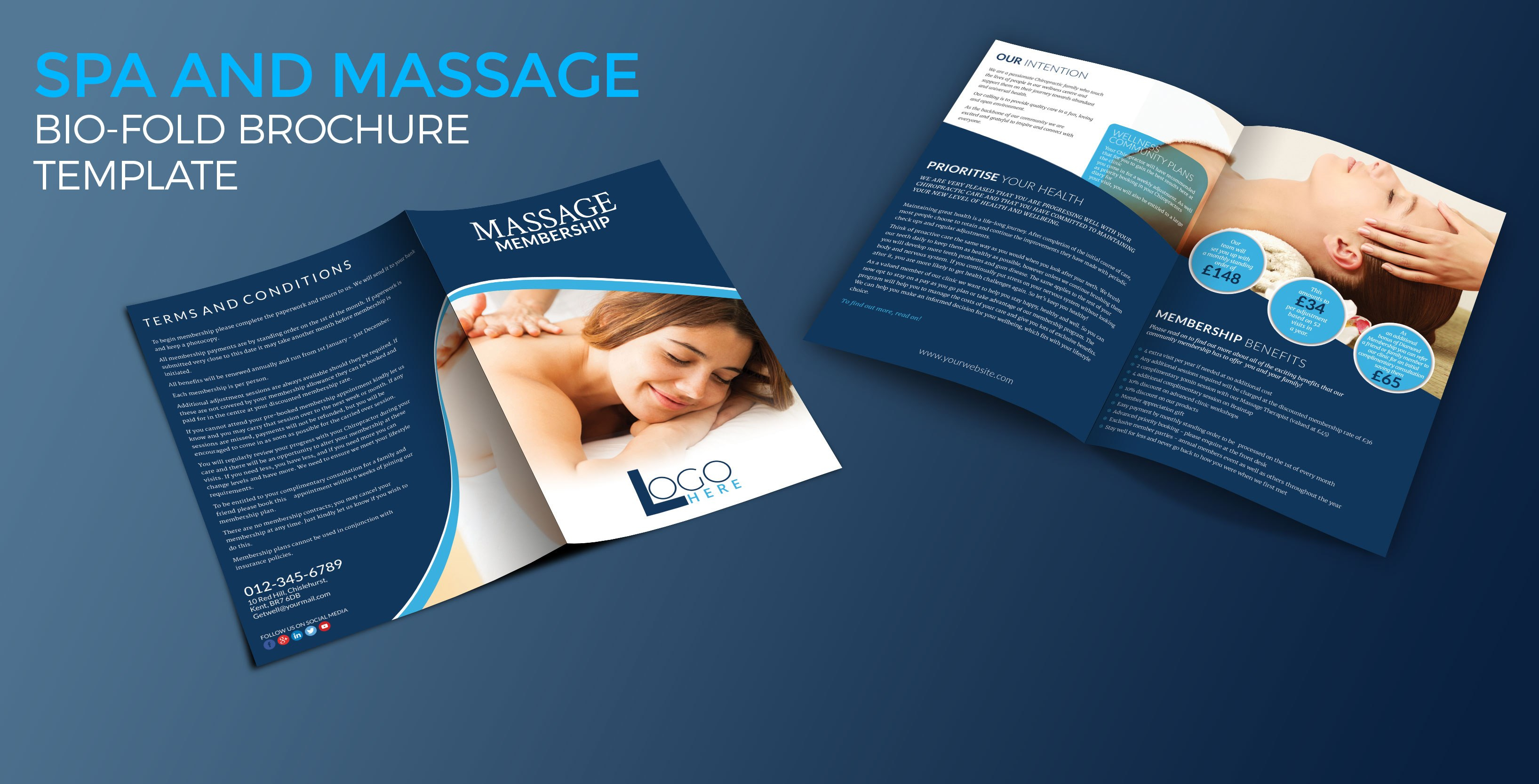 Spa And Massage Biofold Brochure Template  Graphic Reserve With Regard To Membership Brochure Template