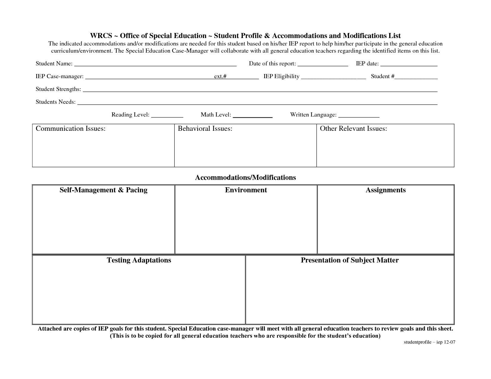 Special Education Accommodations Checklist  Special Education Pertaining To Blank Iep Template