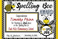 Spelling Bee Awards ~ Fillable  Spelling Bee  Spelling Bee Bee with regard to Spelling Bee Award Certificate Template