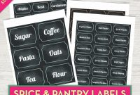 Spice Jar Labels Chalkboard Labels Printable Pantry Labels Kitchen for Pantry Labels Template