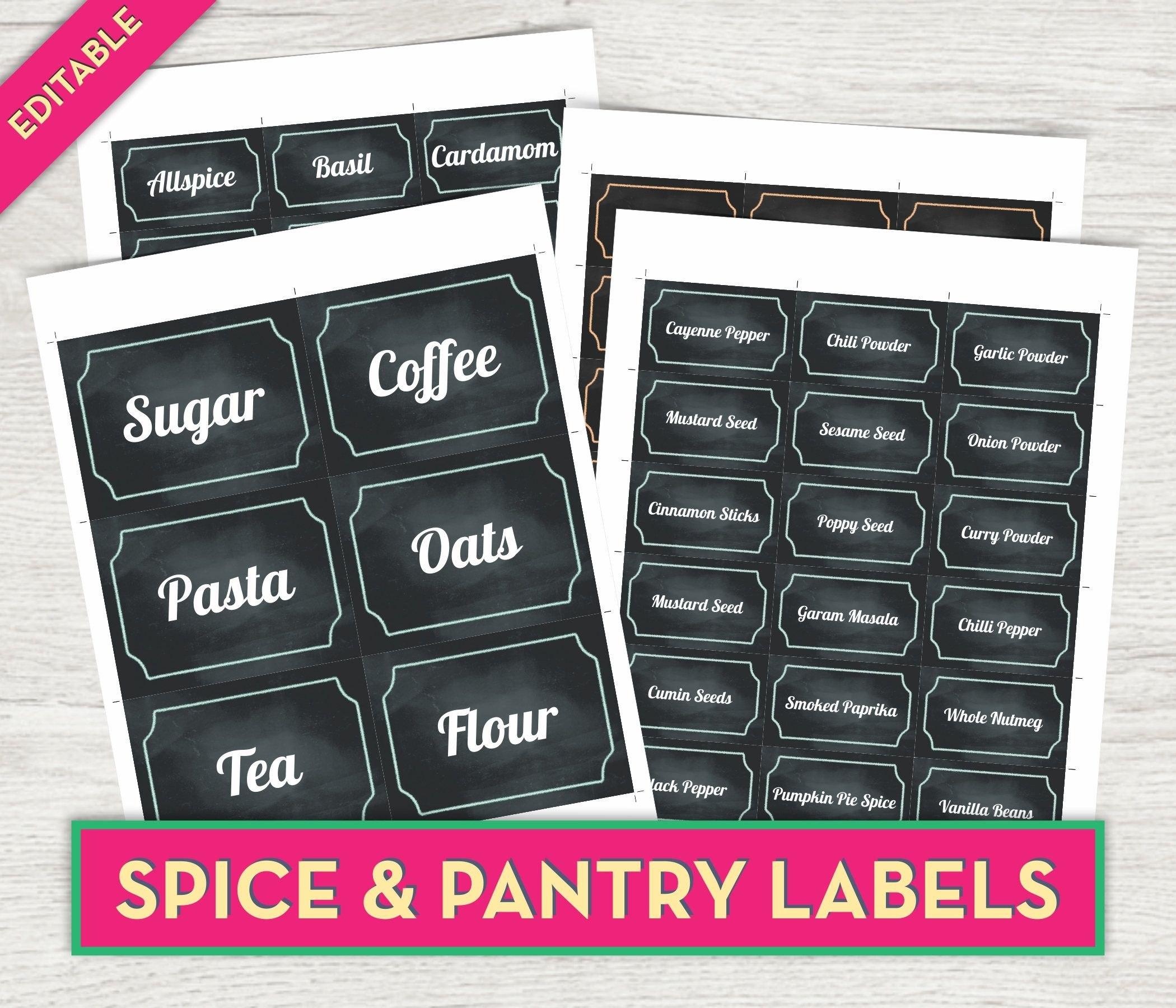 Spice Jar Labels Chalkboard Labels Printable Pantry Labels Kitchen For Pantry Labels Template